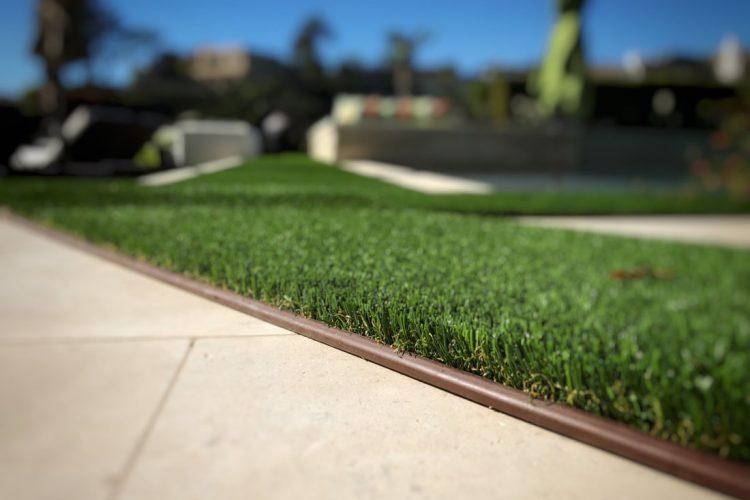Artificial Lawn Border for Hardscape Installation