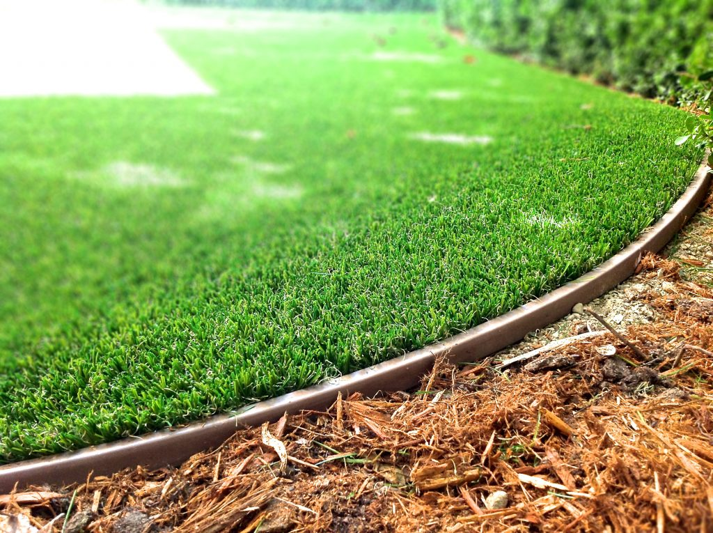 fake grass edging and mulch